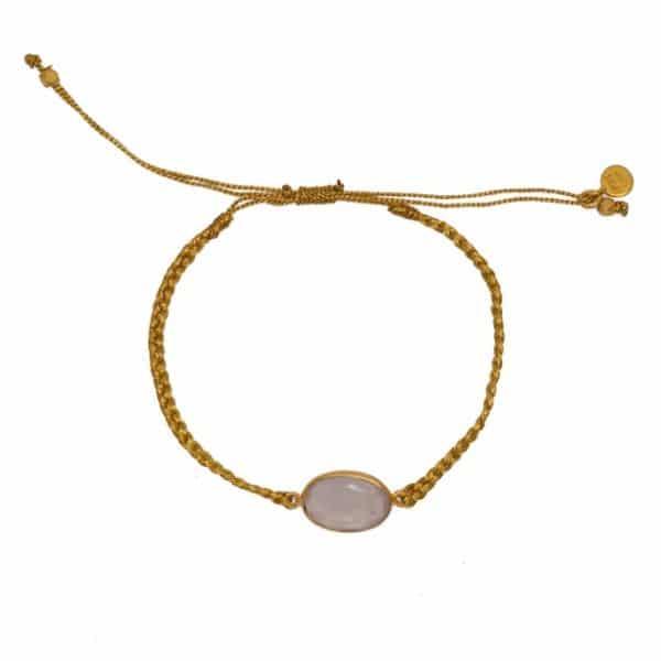 Bracelet tressé doré et quartz rose. Bracelet, accessoires bohème