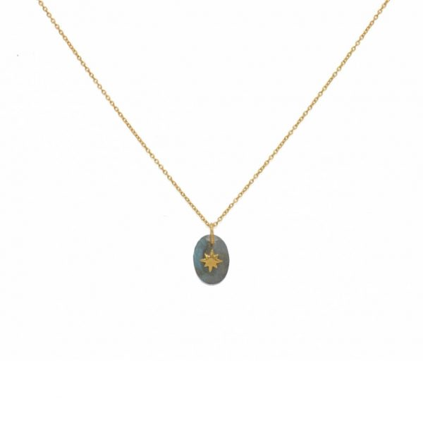 Gold necklace pendant labradorite and star. Bohemian accessories necklace