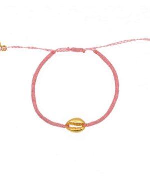 Bracelet cordon rose et coquillage doré. Bracelet bohème Blue Cabana