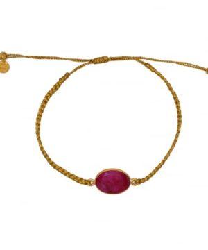 Bracelet tressé doré et rubis. Bracelet bohème. Accessoires bohème