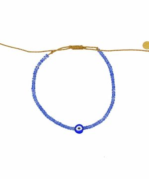 Braided bracelet and lucky eye. Boho Blue Cabana Bracelet,