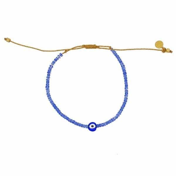 Bracelet tressé et oeil porte bonheur. Bracelet bohème Blue Cabana