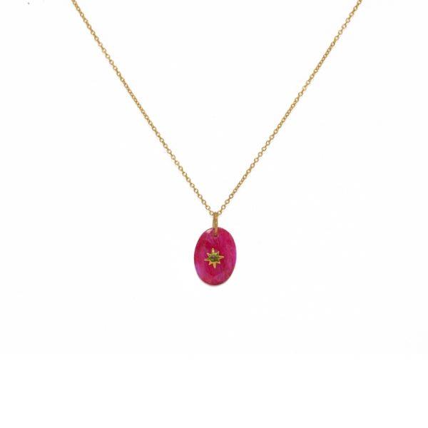 Collier doré pendentif rubis et etoile des 4 vents. Collier bohème