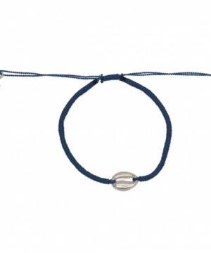 Bracelet cordon gris bleu et cauri argent 925. Bracelet bohème