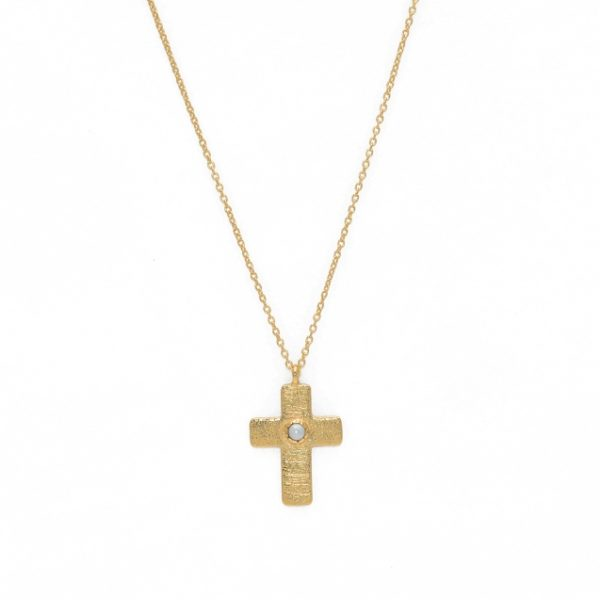 gold necklace pendant cross brush and cultured pearl