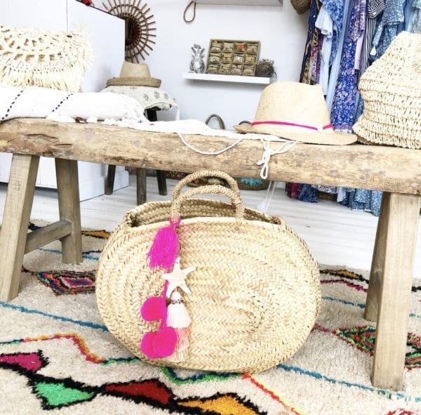 Panier Bagatelle Pink Blue Cabana - boutique de plage bohème