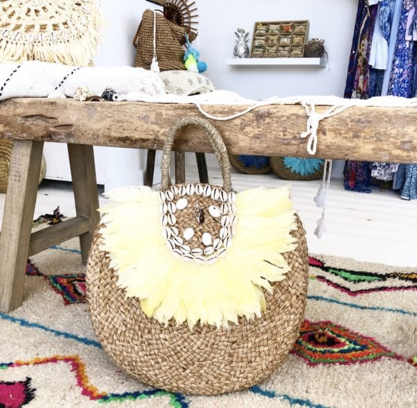 Lola bag Yellow Blue Cabana - boutique de plage bohème